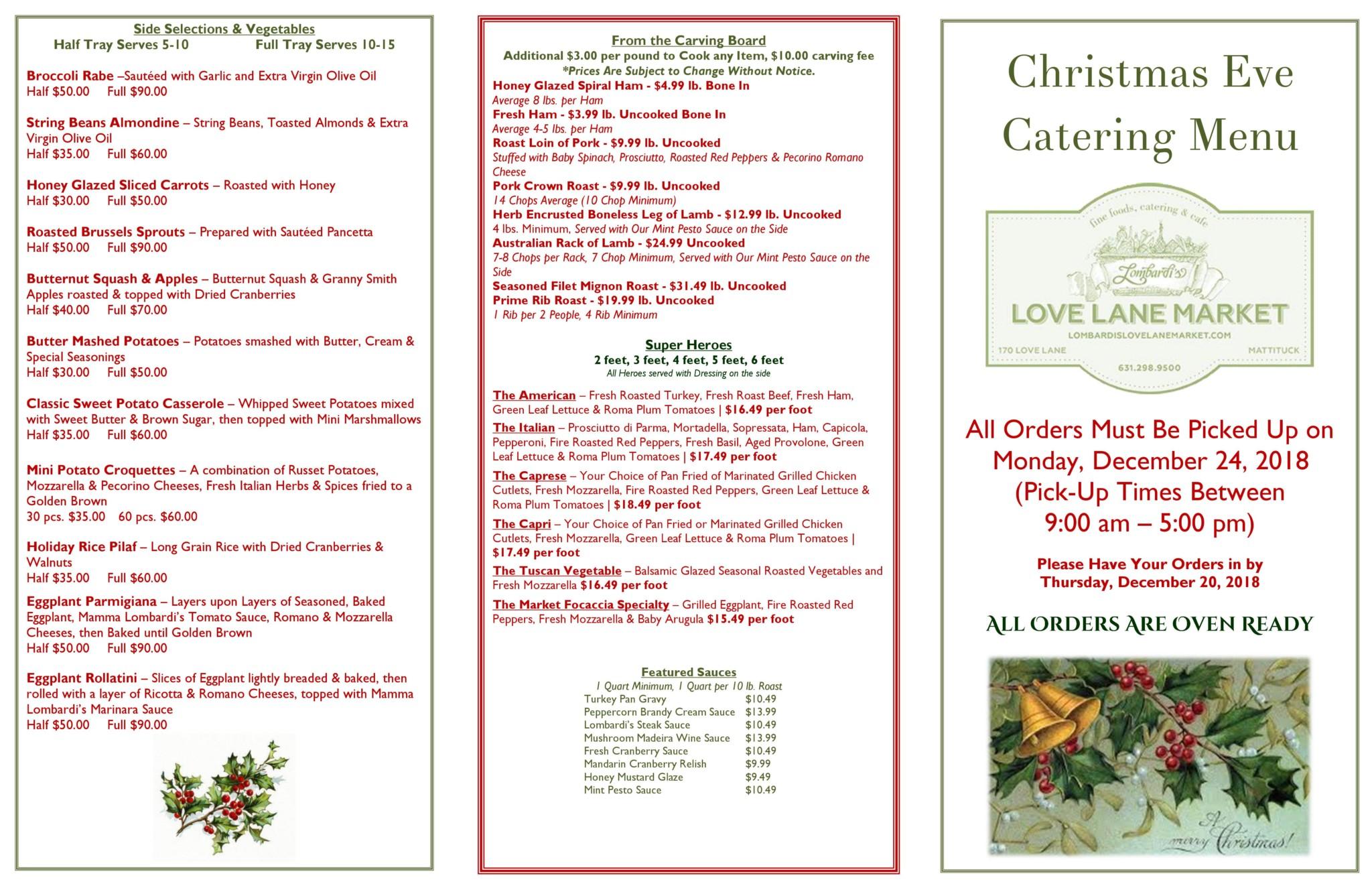 Love Lane Christmas Eve Menu Holidays 2018 1